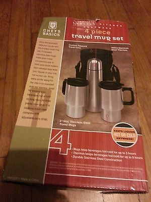 Stainless steel 4 piece travel mug set includes case thermos and 2 mugs