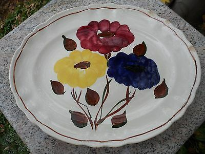 Sovereign Potters Earthenware Hand Painted Floral Oval Platter Red Blue Canada