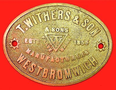 RARE ANTIQUE SOLID BRASS T WITHERS & SON WEST BROMWICH SAFE PLATE C 1890's
