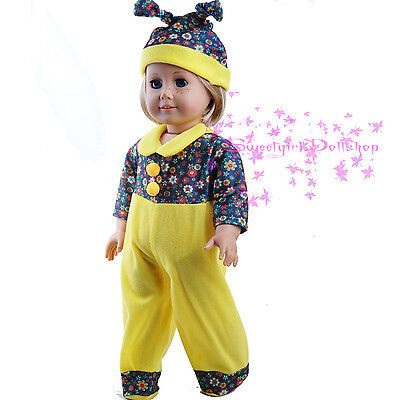 "Lovely Yellow garment Patterned Clothes fits 18"" American Girl Doll for Xmas"