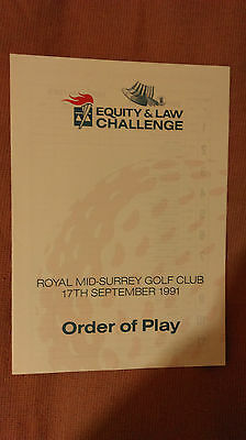 1991 Equity & Law Challenge Order Of Play Programme: Golf: PGA European Tour
