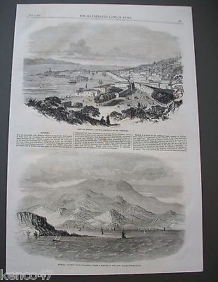1860 Antique Print View Of Messina & Messina From Calabria Italy