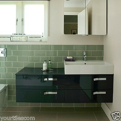 TILE DEALS / SAMPLES: London Metro Sage Green Gloss Brick Wall Tiles 10 X 20CM