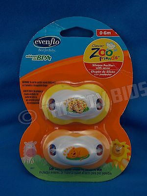 Evenflo Silicone Pacifier with Cover Classic ZOO FRIENDS 2 Pack 0-6 Months