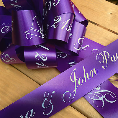 Cadburys Purple Personalised Wedding Car Ribbon Kit - Ribbon & Handmade Bow