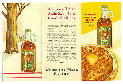 Original Nov 1934 Vermont Maid Maple Syrup Advertising Brochure
