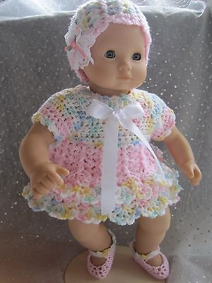 Sweet DRESS, HAT & SHOE Set for AG Bitty Baby  - Hand Crocheted - NEW