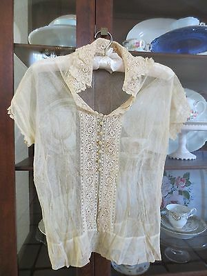 Antique Edwardian Victorian Ladies Sheer Blouse with Crocheted Collar Size Small