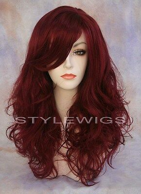 Long Full Volume Curly Wavy w/ Bangs Dark Auburn & Red Mix Wig TIBC 39/130