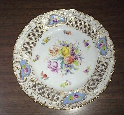 DRESDEN  FINE PORCELAIN FLOWERS RETICULATED PLATE