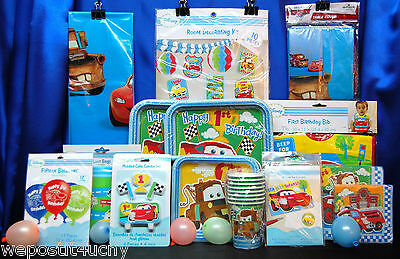 Cars 1st Birthday Party Set # 15 Cars 1st Birthday Supplies HUGE SET for 16