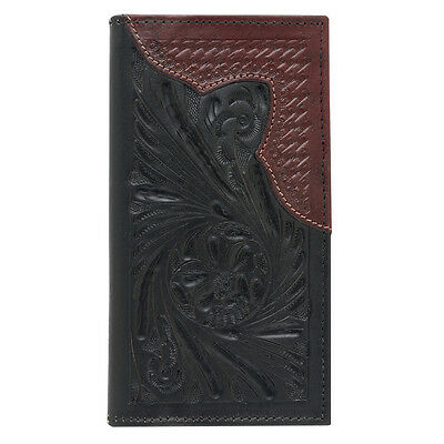 American West Western Mens Rodeo Wallet Leather Black / Brown 0585158