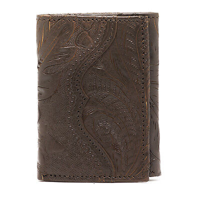American West Western Mens Tri-fold Wallet Leather Brown 0539510