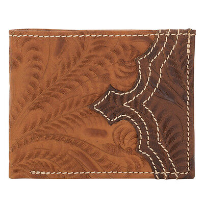 American West Western Mens Bi-fold Wallet Leather Chestnut Brown 0521565