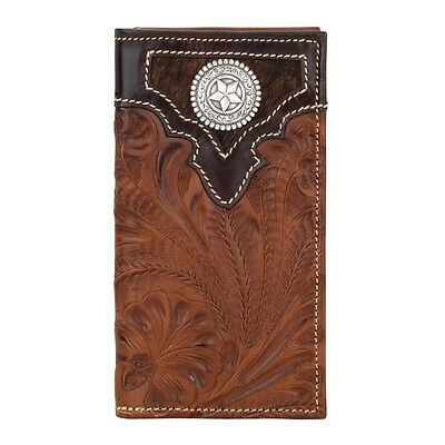 American West Western Mens Rodeo Wallet Leather Brown Hair 0513865