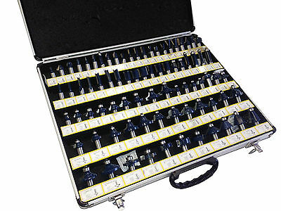 80Pc 1/4'' Shank Tunston Carbide Router Bit Setessories 3 Blade Power Tool Acc