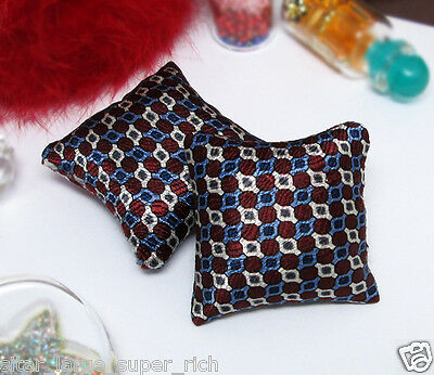 2PCS MIX DOT PATTERN SILK PILLOW FOR SOFA COUCH BED 1/12 DOLLHOUSE MINIATURE