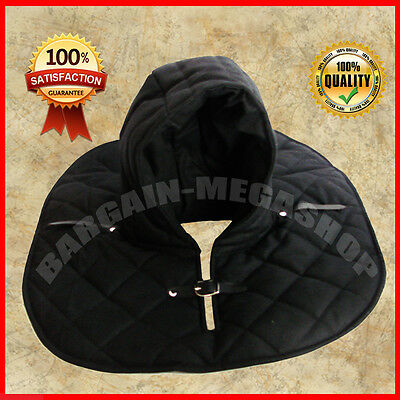 Renaissance Medieval Cotton Padded Armor Collar and Coif Arming Cap Black y8