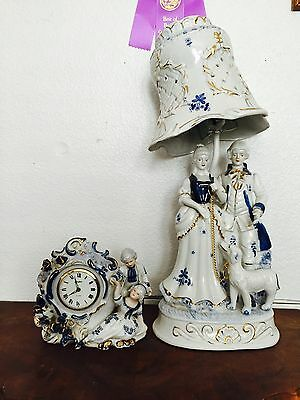 French Handpainted Porcelain Figurine With Porcelain Lamp & Clock!