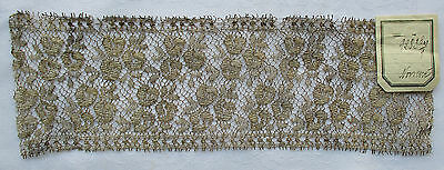 Vintage Gold Metallic Lace Stylized Floral Leaf Design French