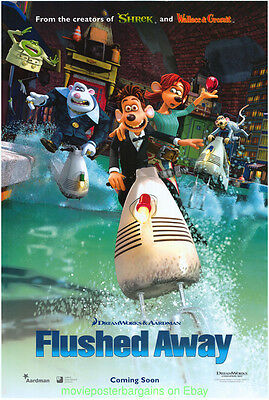 FLUSHED AWAY MOVIE POSTER ORIGINAL DS 27x40 ANIMATION 2006  DREAMWORKS