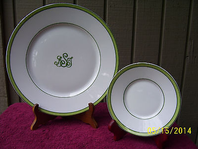 Raynaud limoges monogram Tropic Green Saucer and Dinner plate