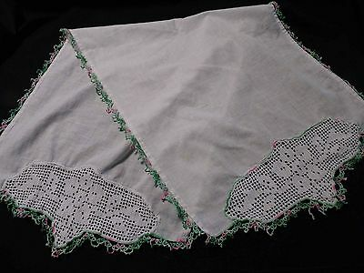 Darling Vintage Simple white Crocheted Cotton Runner Pink/Green Tatted Trim
