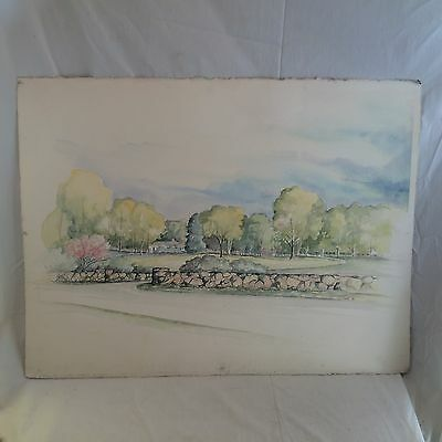 Beautiful Lg. Orig. 1982 signd Reed Watercolor Painting Rural New England Estate