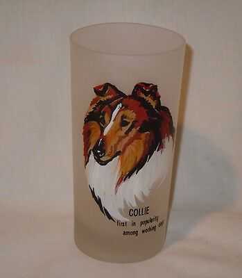 Vintage Collie Dog Tall Frosted Glass