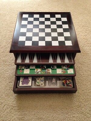 Wooden 15 In 1 Game Center Family Checkers Chess Backgammon & More Table Top