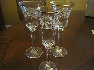 Mikasa ANTIQUE LACE 2 Wine and 1 Champagne Crystal Glasses