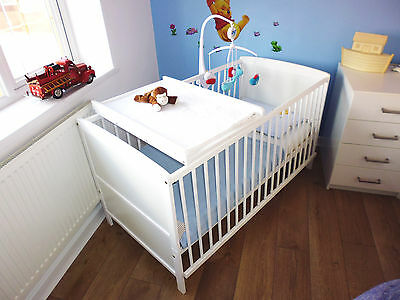 New White Cot Bed With Cotbed & Mattress To Choose And Optional Cot Top Changer