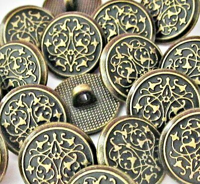 "Carved lot 14 antique/vintage-like brass metal shank sewing buttons 9/16"" #M167"