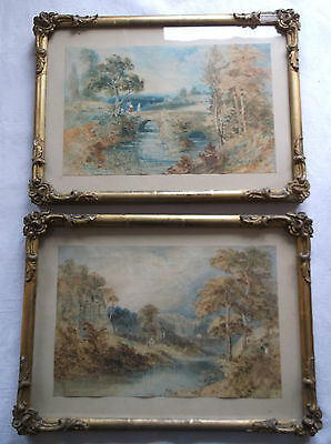 TWO VICTORIAN WATERCOLOUR PAINTINGS TWO STUDIES OF BEAUTIFUL RIVER SCENES