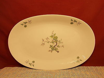 "Mitterteich Fine China Green Ming Platinum Trim Pattern 15"" Oval Platter"