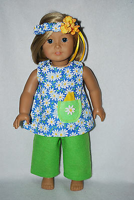 """doll clothes fit 18"""" American girl dolls daisy capri set handmade in the USA"""