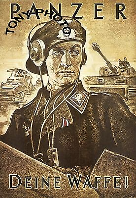 WW2 MILITARY POSTER PRINT GERMAN PANZER TANK OFFICER WWII