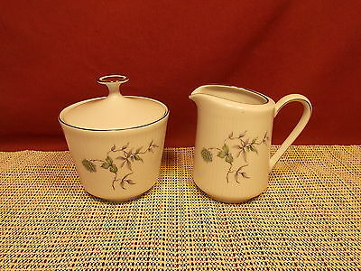 Mitterteich Fine China Green Ming Platinum Trim Pattern Sugar & Creamer