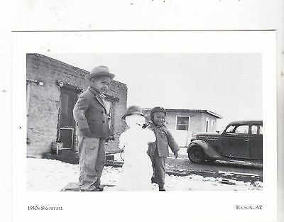 """2 Young Boys Playing in the 1930's Snowfall""  *Tucson, AZ  (Postcard--#112)"
