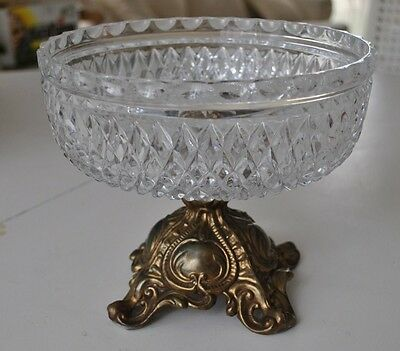 Cut Crystal Compote Bowl w/ Brass Pedestal Stand