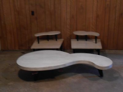 Vintage(from the 50's) Kidney Bean coffee table with two tiered end tables