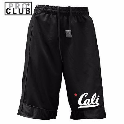 New Men's Proclub Printed Cali Funny Heavy Weight Basketball Mesh Shorts Pants