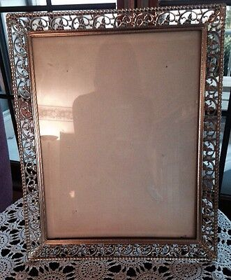 LOT OF 2 VINTAGE GOLD METAL W/WHITE 11x14 PICTURE PHOTO ART FRAMES WITH EASEL