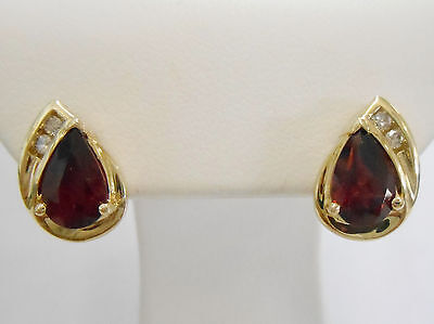 Genuine 10k Yellow Gold Pear Shaped Created Ruby Earrings With Diamond Accents