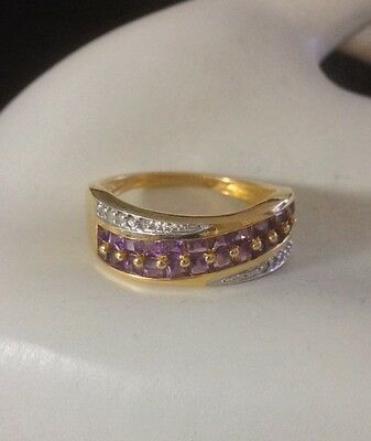 Brilliant Embrace Amethyst And Diamond Sterling Silver Ring Bradford Exchange