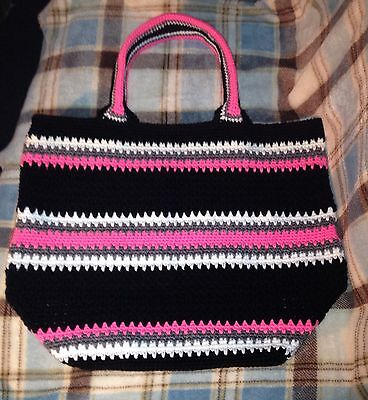 """Acrylic Hand Crocheted Tote Bag/Market Bag """"Pink-A-Boo"""""""""""