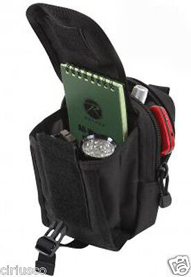Travel Accessory Black Pouch MOLLE Compatible with 2 Inner Pockets & Belt Loop