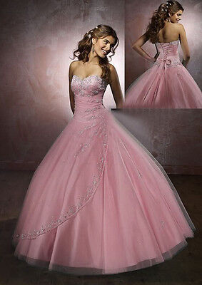 New Pink long cocktail dress formal Bridesmaid prom party ball evening size 6