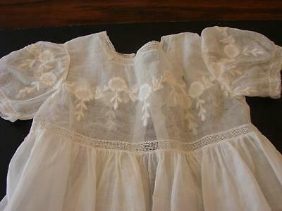 ANTIQUE EARLY BABY DRESS CHRISTENING GOWN SHEER BATISTE EMBROIDERY NET LACE