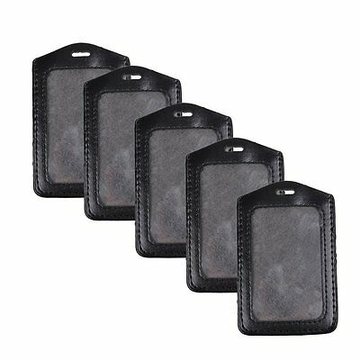 5 pcs/set Black Leather Business ID Credit Card Badge Holder Clear Pouch Case